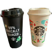 Starbucks Singapore Hot Reusable Cup Set Of 2 Limited Grande W/ Lid 16 Oz X Card