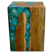 Blue Resin Lucite And Teak Root Wood End Side Night Stand Table Brn18