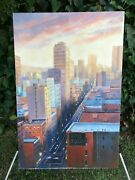 Diana Shannon Young Original Modern Cubist Urban Streetscape Signed Oil And Canvas