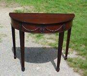 Antique Federal Style Mahogany Demilune Sofa Console Table Entry Foyer Stand