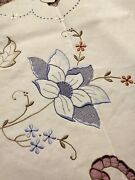 Amazing Elaborately Embroidered And Cutwork Colored Madeira Tablecloth 98 X 70