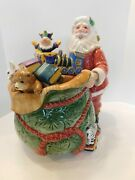 Fitz And Floyd Old Fashioned Christmas Cookie Jar Santa Sack Of Toys 797669