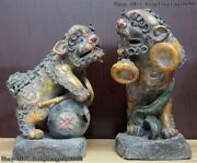 Chinese Pottery Wucai Porcelain Gong And Drum Foo Dog Lion Kylin Beast Statue