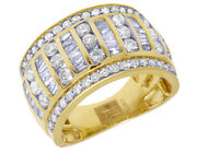 Real Diamond Baguette Mens Channel Wedding Band Ring 10k Yellow Gold 2.5 Ct 13mm