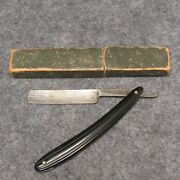 The Torrey Razor Co Worcester Ma 6 Straight Razor Black Celluloid Ribbed Handle