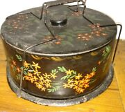 Antique Tole Painted Primitive Flowers Painted Cheese Or Cake Holder Box