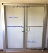 Commercial Storefront Double Door Frame And Closer 6and0390 X7and0390 Clear Finish W/glass
