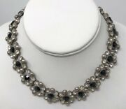 Pretty Vintage Art Deco Black And Clear Crystal Sparkly Rhinestone Necklace Choker