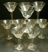 Vintage Set Of 10 Sterling Silver Ringed Overlay Champagne Glasses 6 X 3.75