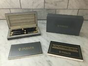 Parker Premier Set Brown Chinese Lacquer Fountain Pen Ballpoint And 0.5 Pencil