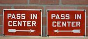 Old Porcelain Pass In Center Pair Signs Rightandleft Arrows Gas Station Industrial