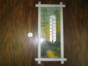 Vintage Framed Thermometer With Landscape Centralia Illinois Service And Oil Co.