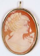 Vintage Victorian Cameo Coral Color Resin 14k Gold Pendant Brooch W/ Hinged Bale