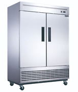 New 2 Door Reach In Refrigerator Cooler Stainless Dukers D55r Nsf 2025 Solid
