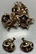 1944 Coro Sparkling Peonies Matching Earrings Set Sterling Duette Pin Clips