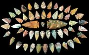 52 Pc Lot Flint Arrowhead Oh Collection Project Spear Points Knife Blade