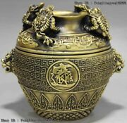 Chinese Brass Copper Golden Toad Bufonid Money Wealth Foo Dog Lion Head Vase Pot
