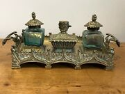 1 Magnificent Rare Gothic Antique Mid 19th Century Brass Inkwell Pugin Style