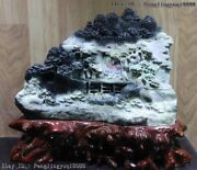 14 Chinese Dushan Jade Lofty Mountains And Flowing Water Lotus Pond Statue
