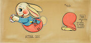 Fisher-price Xrare C1941 Orig Production Concept Painting 466 Busy Bunny Cart