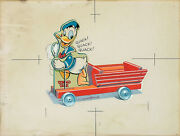 Walt Disney And Fisher-price Xrare C1942 Production Art 544 Donald Duck Cart