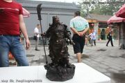 22 Chinese Pure Bronze Copper Stand Dragon Guan Gong Yu Warrior God Sword Statue