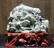 10 Chinese Art Sculpture Natural Dushan Jade Mountain Forest Old Man Boy Statue