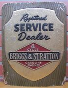 Old Briggs And Stratton Service Dealer Store Display Sign 4 Cyl Gas Engines Ad