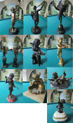 Antique Cast Iron Bronze Finial Sculpture Angels Salvaged Marble Base Pick One
