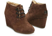 Brand New Toms Chocolate Brown Suede Wedge Booties Size 7