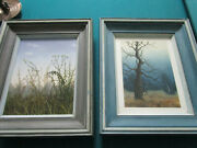 Still Life Pair Of Original Oil Paintings On Canvas Forest Wild Flowers Unsigned
