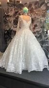 Lace Long Sleeve Wedding Dress With Crystal And Pearl Head Pieceandnbsp