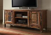 Artsy And Rustic Reclaimed Wood Finish Tv Console Entertainment Stand With Storage
