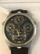 Rare Breitling 18k/ss World Time Pilots Watch Vintage Menand039s Watch 4 Time Zones
