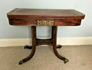 Antique English Regency Inlaid Demilune Game / Card Table