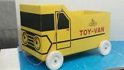 1960's Little General Yellow Toy Van Cardboard Toy Storage Pull Vehicle