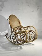 1950 Fauteuil Rocking-chair Art-deco Moderniste Shabby-chic Bambou Adnet Thonet