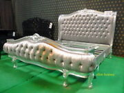 Upholstered Designer Bed Hand Carved From Mahogany Wood Baroque Rococo Style