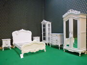 Bespoke 4and039 Small Double Diamond White French Rococo Bed Carved Mahogany Wood
