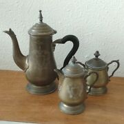 Vintage Brass Tea Set - Teapot Sugar And Creamer - India Partially Silver Plated