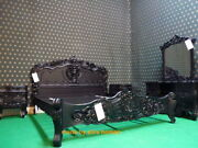 Usa King Size 76x80 Black Hand Carved From Mahogany Solid Wood Rococo Bed