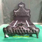 5and039 King Size Matt Black Designer Gothic Bed With Chesterfield Style Upholstery