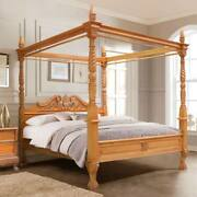 Usa King 76x80 Mahoganyqueen Anne Style Hand Carved Four Poster Canopy Bed