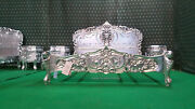 Uk Super King Size 6and039 Silver Leaf Hand Carved Mahogany Solid Wood Rococo Bed