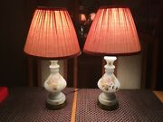 Pair Of Vintage Hand-blown Opaque Glass And Hand-painted German Table Lamps
