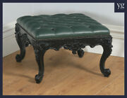 Antique Victorian Mahogany Ebonised Carved Green Leather Coffee Table Foot Stool