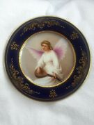 Royal Vienna Hand Painted Porcelain Cabinet Plate Angel Mandolin Signed