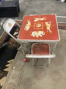 Merry Go Round Antique Early Childs Card Table Metal Frame Carousel Really Rare