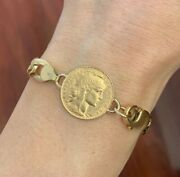 18k/22k Yellow Gold 20 Franc Rooster Coin Chain Link Bracelet 31.70 Grams