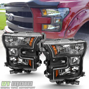 2015 2016 2017 Ford F150 F-150 Black Headlights Headlamps Replacement Left+right